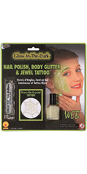 Glow-In-The-Dark Nail Polish, Body Glitter and Jewel Web Tattoo