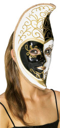 Black White Venetian Moon Mask
