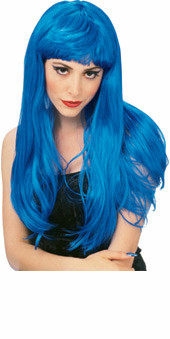 Blue Long Hair Glamour  Wig