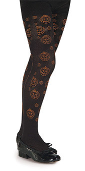 Child Black Tights with Orange Pumpkin Print