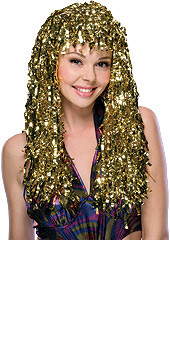 Golden Crimped Tinsel Hair Wig
