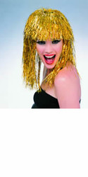 Gold Metallic Tinsel Hair Wig