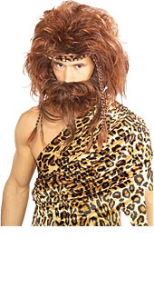 Bushy Caveman Hair Wig & Beard Set