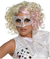 Lady Gaga Curly Hair Blonde and Pink Hair Wig
