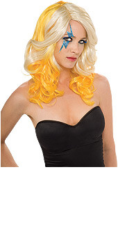 Lady Gaga Curly 2-Tone Blonde and Yellow Hair Wig