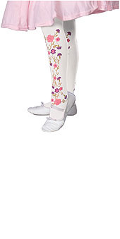 Child White Tights with Colorful Rose Prints
