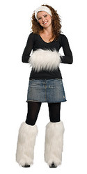 White Fur Headband, Muff and Boot Covers