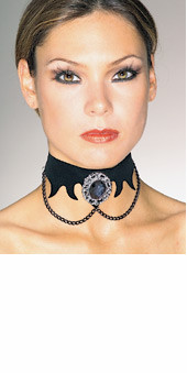 Velvet Choker with Black Stone