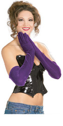 Long Purple Velvet Elbow Gloves