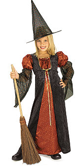 Glitter witch costumes Child Long Halloween Dress and Witch Hat
