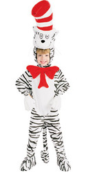 Cat In The Hat Costume, Child White Striped Dr. Seuss - Boys