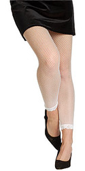 White Fishnet Tights With Lace Bottom