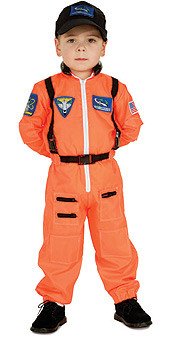 Astronaut Costume, Kids Orange Pilot Uniform