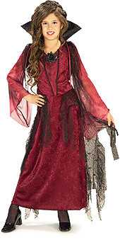 Gothic Vampiress Dress Girls Burgundy Halloween Costume
