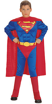 Superman Costume, Kids Boys Muscle Chest