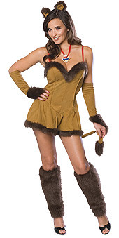 Cowardly Lioness Costume Adult Sexy Wizard of Oz Mini Dress