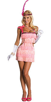 Pink Flapper Costume Adult 20s Costume