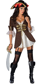 Buccaneer Girl Dress Sexy Adult Pirate Halloween Costume
