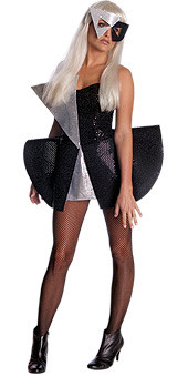 Lady Gaga Fancy Black and Silver Sequin Mini Dress - New for 2010 Halloween