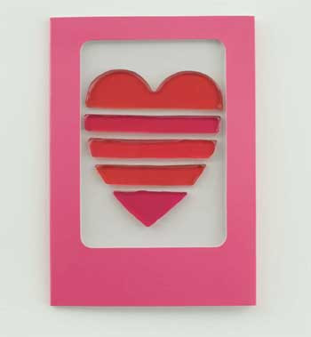 Striped/Layered Heart GelGems Greeting Card