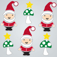 Christmas Gnomes Large GelGems window clings