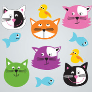 Cute Cats Large GelGems Window Clings