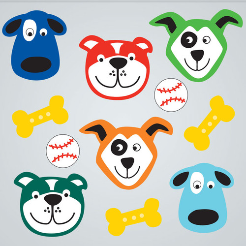 Cute Dogs Large Gelgems Window Clings