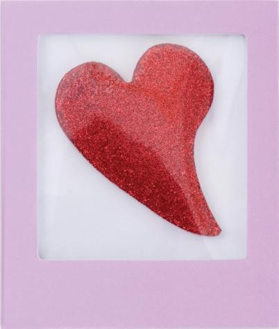 Glitter Hearts Red Mini Greeting Card GelGems