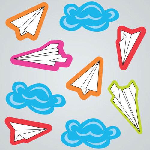 Paper Airplanes GelGems Small Window Clings