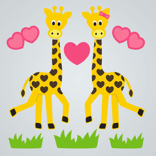 Giraffe Love Gel Gems Small Window Clings