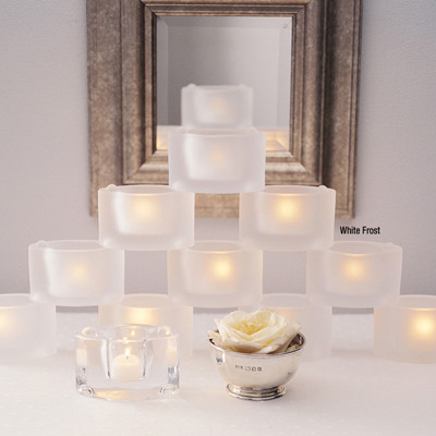 White Frost Cats Eye Candle Holder
