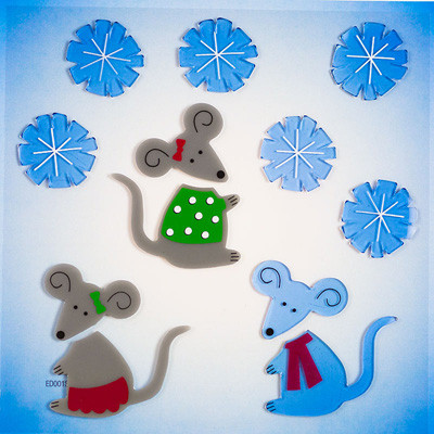 Christmas Mice Small GelGems® WIndow Clings