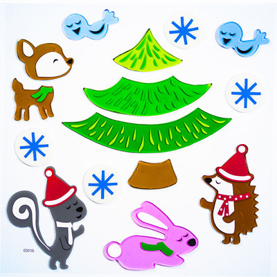 Woodland Christmas GelGem® Window Clings Large