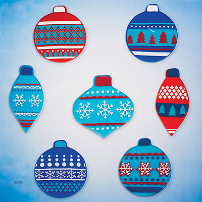 Blue Christmas GelGems® Large Window Clings
