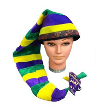 Mardi Gras Long Velled Stripped Hat