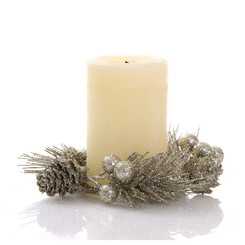 Christmas Candle Wreath 10cm - Champagne coloured
