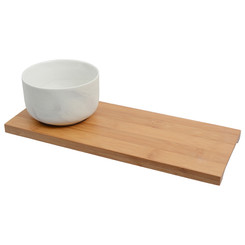 Olsen Marble White Bowl with Bamboo Base - 9cm