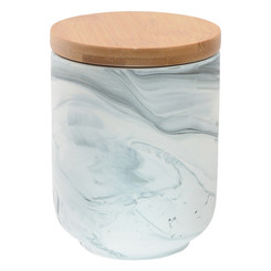 Olsen Marble Canister with Bamboo Base - Grey - Small