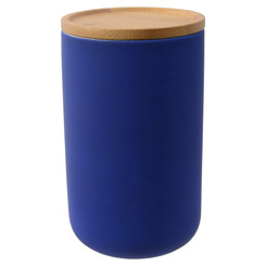 Evora Canister with Bamboo Lid - Blue Large, Height 17cm