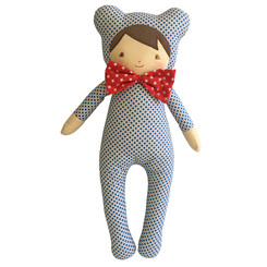 Alimrose - Baby in Bear Suit - Blue Dottie
