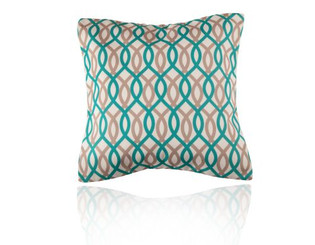 Ribbon Teal and Latte Cushion.