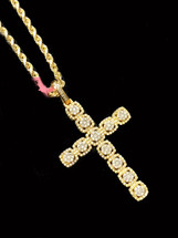 10K Gold Cross 1.30Ct Diamonds With Chain