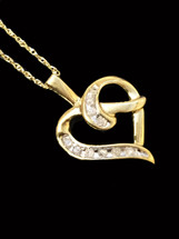 10K Gold 0.08Ct Diamonds Heart With Chain