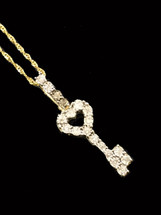 10K Gold 0.15ct Diamonds Heart Key With Chain