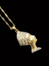 10k gold 0.10ct Diamonds Nefertiti With Chain