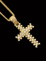 10K gold 1.50ct Diamonds Cross with Chain