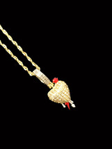 10K Gold 0.20ct Diamonds Heart With Dripping and Chain