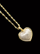 10K Gold 0.15 ct Diamonds Heart With Chain