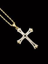 10K gold 0.12 ct diamonds cross with chain