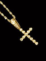 10K Gold 0.25ct diamonds cross with chain